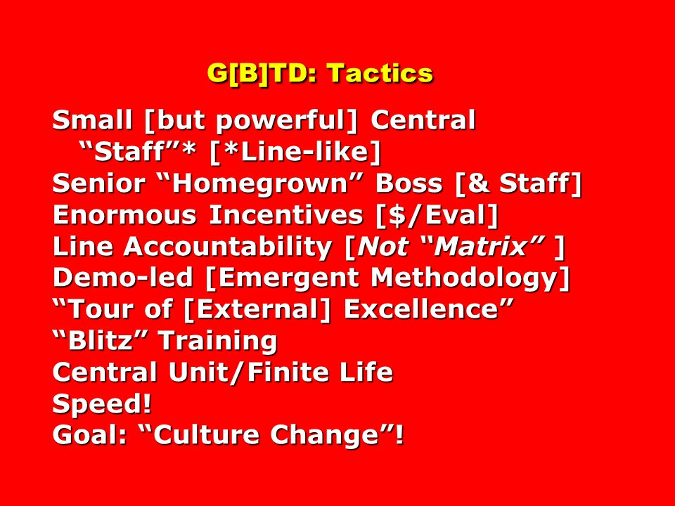 G[B]TD: Tactics Small [but powerful] Central Staff . [